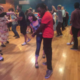 Couple Lindy Hop Dancing in Aris Allens at Frim Fram