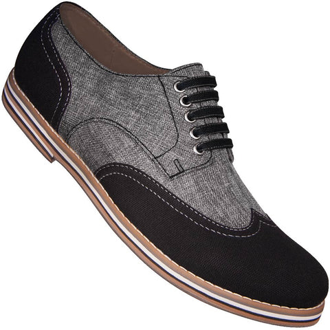 Aris Allen Men's Black & Grey Canvas Wingtip Dance Shoes