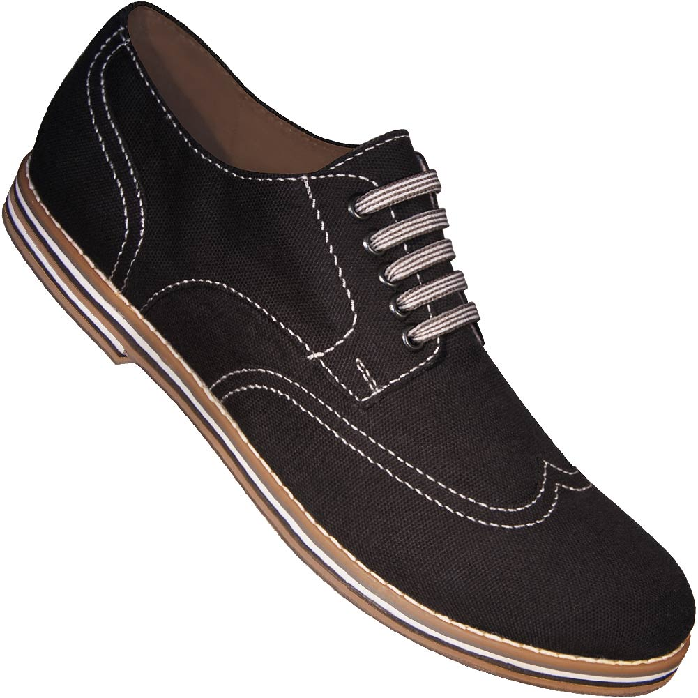 Aris Allen Men's Black Canvas Wingtip Dance Shoes with Suede Soles
