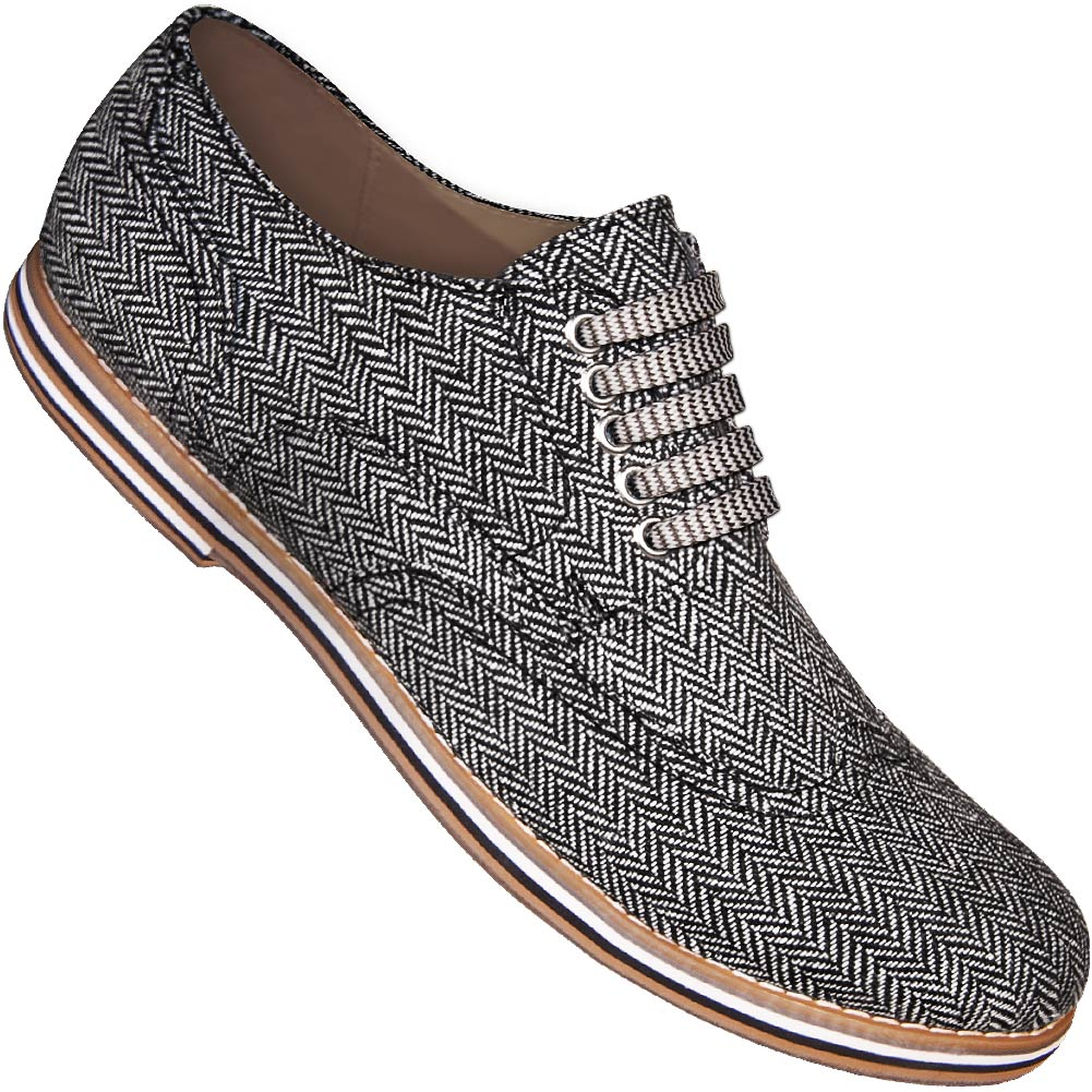 Aris Allen Men's Herringbone Canvas Wingtip Dance Shoes with Striped Laces