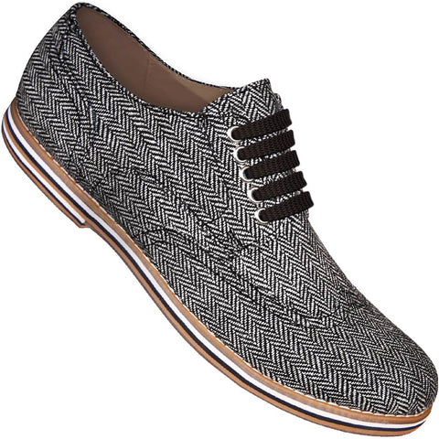 Aris Allen Men's Herringbone Canvas Wingtip Dance Shoes (Black Laces)
