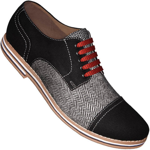 Aris Allen Men's Black Canvas & Herringbone Spectator Captoe Dance Shoes with Red Laces