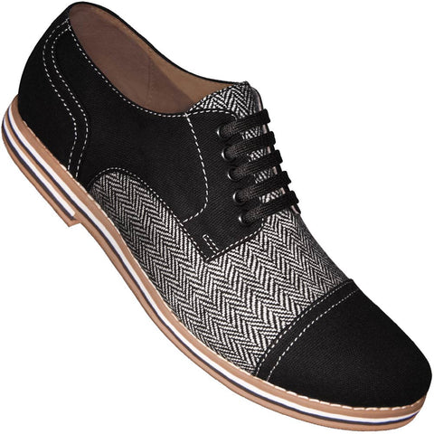 Aris Allen Men's Black Canvas & Herringbone Spectator Captoe Dance Shoes (Black Laces)