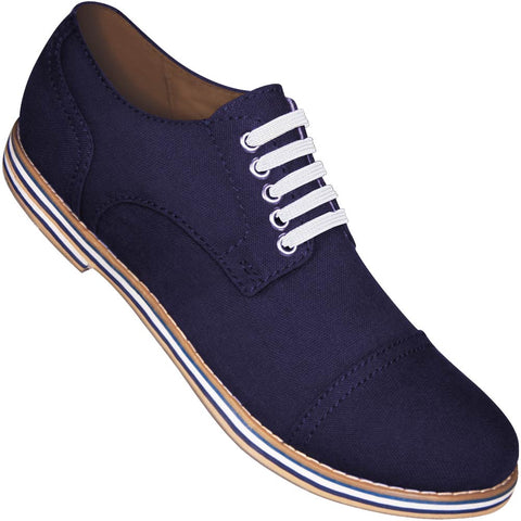 Aris Allen Men's Navy Blue Canvas Captoe Dance Shoes (White Laces)