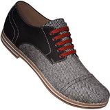 Aris Allen Men's Black Canvas & Herringbone Captoe Dance Shoes with Red Laces