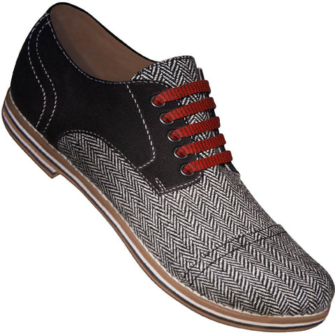 Aris Allen Men's Black Canvas & Herringbone Captoe Dance Shoes (Red Laces)