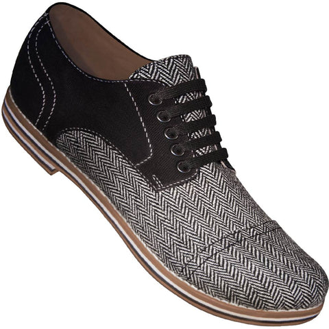 Aris Allen Men's Black Canvas & Herringbone Captoe Dance Shoes (Black Laces)