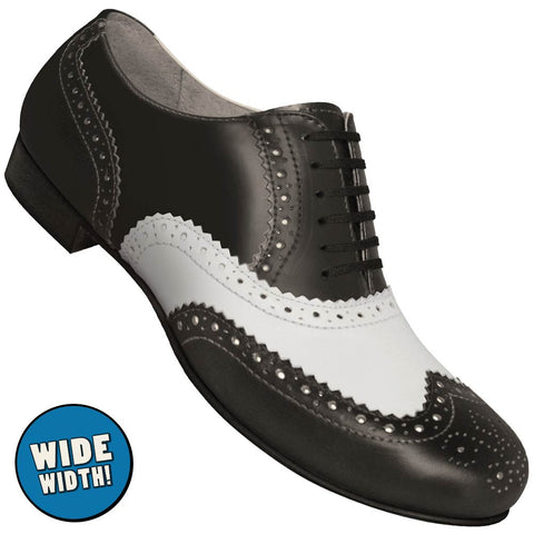 Aris Allen Men's Wide 1930s Black and White Spectator Wingtip Dance Shoe