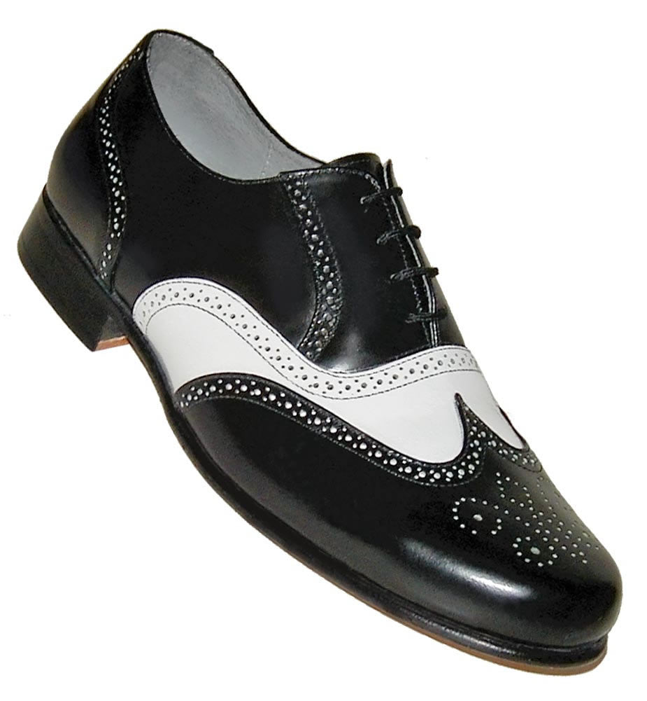 Aris Allen Men's 1930s Black and White Spectator Wingtip Dance Shoe, dancestore.com