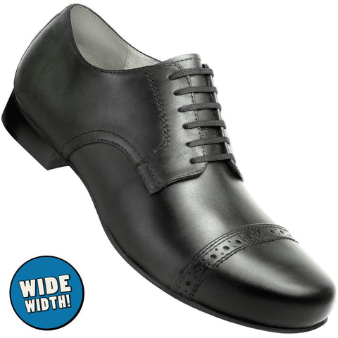Aris Allen Men's Wide 1930s Black Captoe Dance Shoe