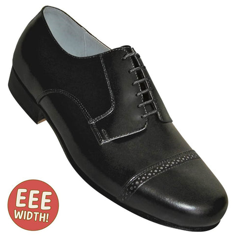 Aris Allen Men's EEE Extra-Wide 1930s Black Captoe Dance Shoe - *Limited Sizes*