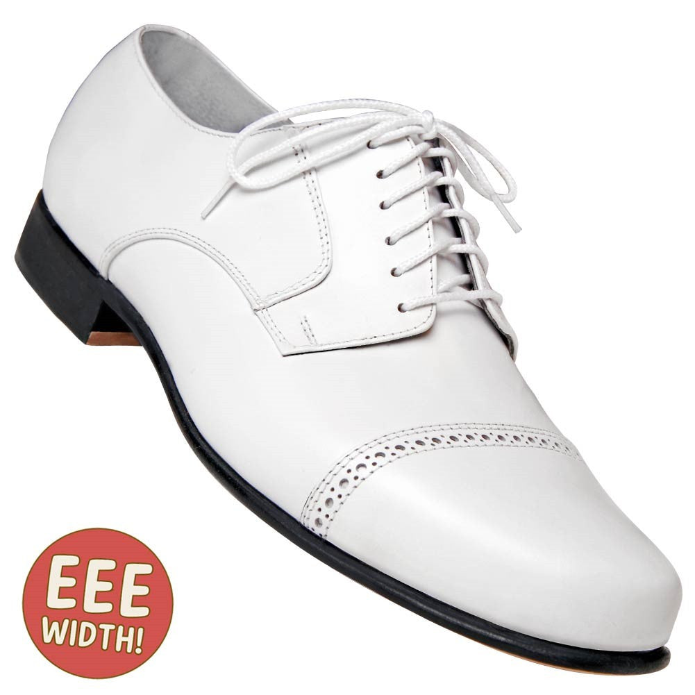 Aris Allen Men's EEE Extra-Wide 1930s White Captoe Dance Shoe - *Limited Sizes*, dancestore.com