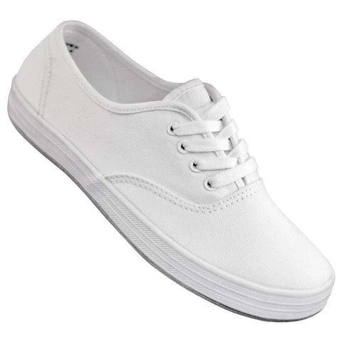 Aris Allen Women's White Canvas Sneaker with Suede Sole - CLOSEOUT - *Limited Sizes*