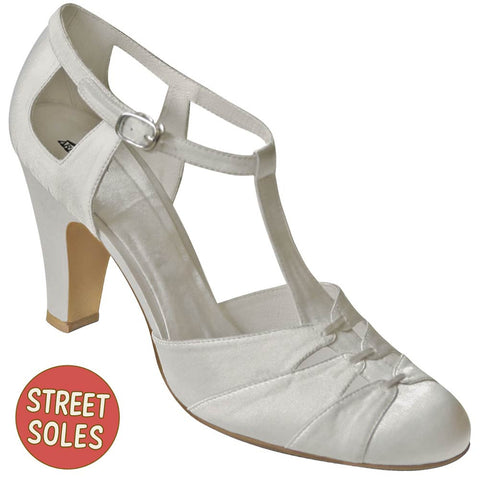Aris Allen White Satin 1930s T-Strap Shoes with Street Soles for Narrow Feet - CLOSEOUT