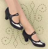 Aris Allen Black and Ivory 1940s Velvet and Mesh Mary Jane Swing Dance Shoe - *Limited Sizes*, dancestore.com - 2