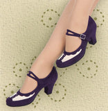 Aris Allen Purple and Ivory 1940s Velvet and Mesh Mary Jane Swing Dance Shoe - *Limited Sizes*, dancestore.com - 2