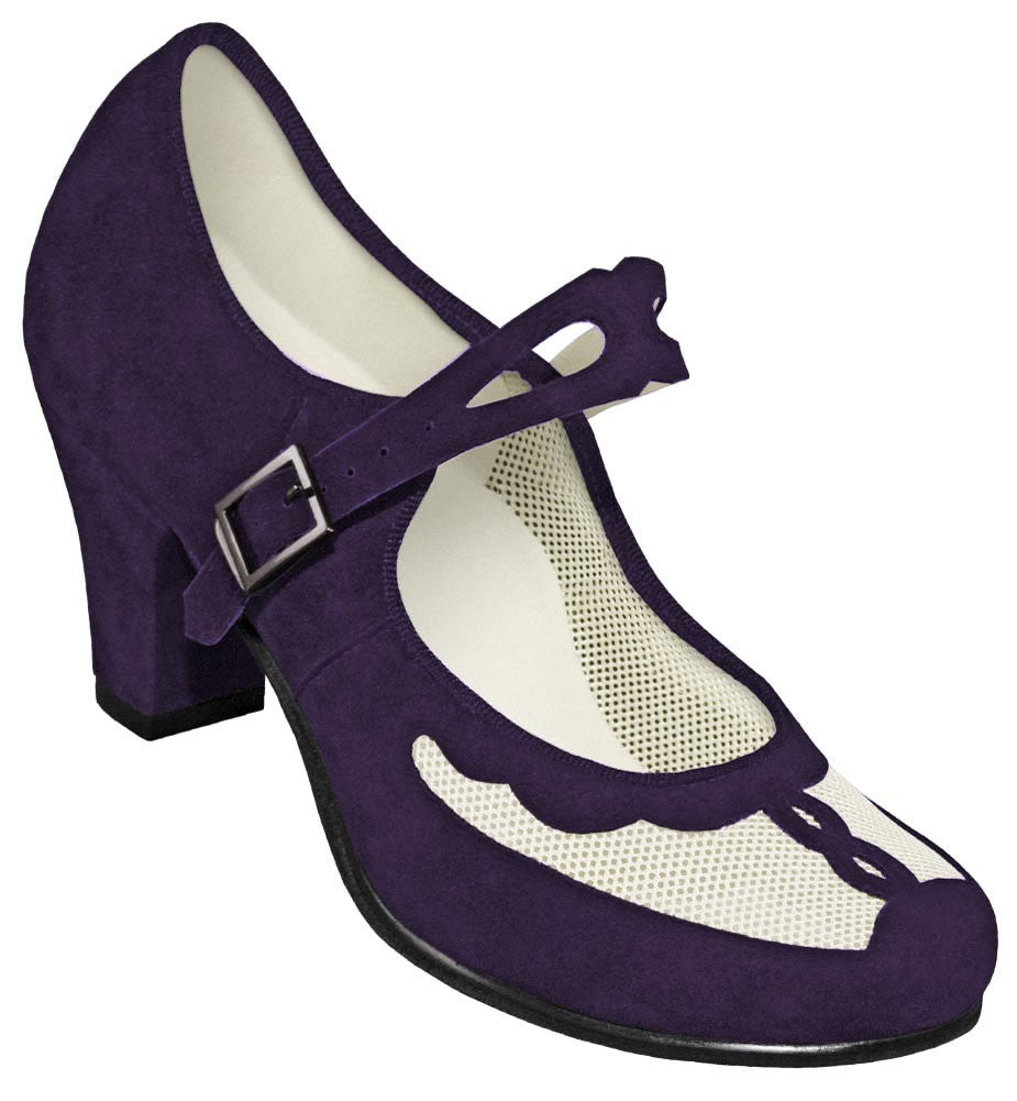 Aris Allen Purple and Ivory 1940s Velvet and Mesh Mary Jane Swing Dance Shoe - *Limited Sizes*, dancestore.com - 1
