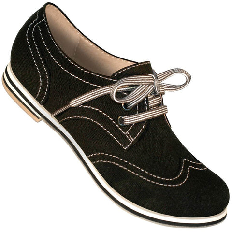 Aris Allen Women's Black Canvas Wingtip Dance Shoes