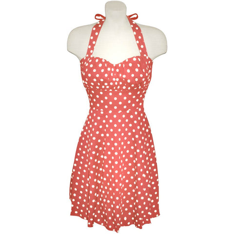 Bubble Gum Pink and White Polka Dot Halter Dress