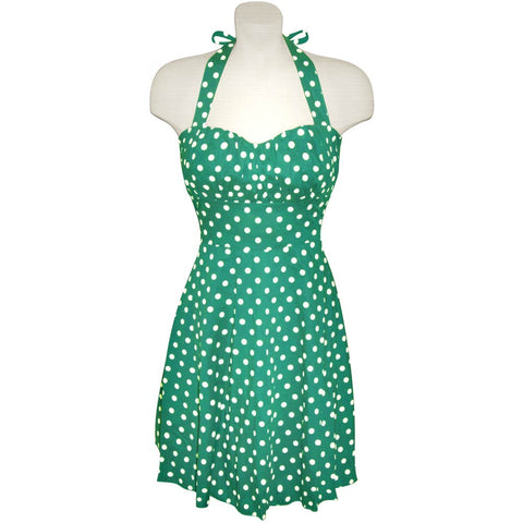 Emerald Green and White Polka Dot Halter Dress