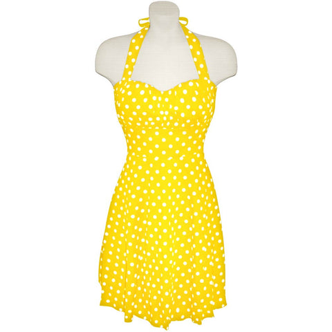 Yellow and White Polka Dot Halter Dress