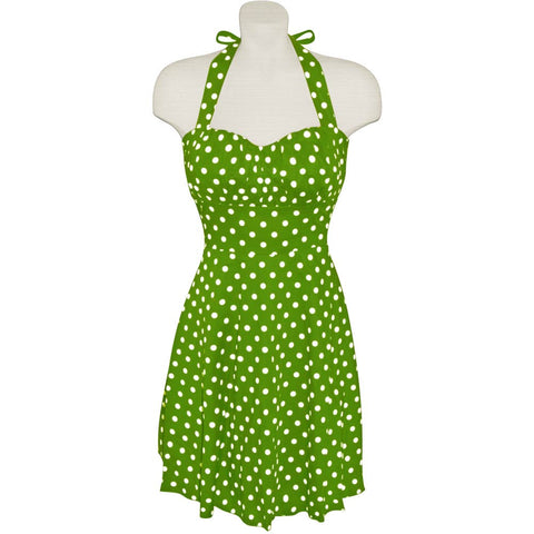 Grass Green and White Polka Dot Halter Dress