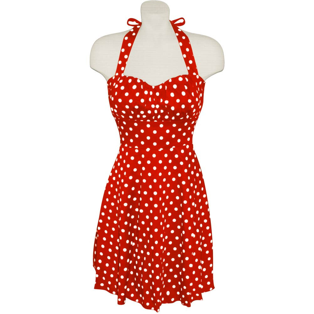 Red and White Polka Dot Halter Dress, dancestore.com