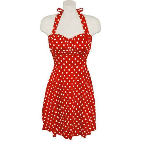 Red and White Polka Dot Halter Dress