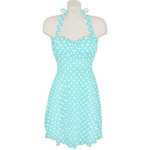 Turquoise Blue and White Polka Dot Halter Dress