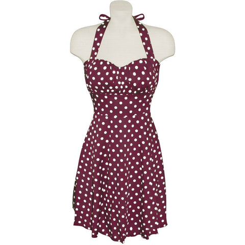 Wine and White Polka Dot Halter Dress