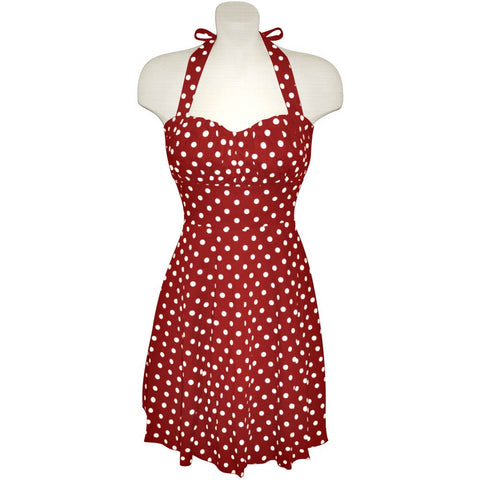 Raspberry and White Polka Dot Halter Dress