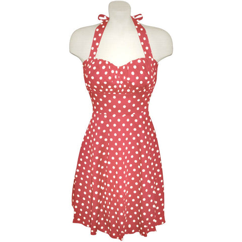 Rose Pink and White Polka Dot Halter Dress