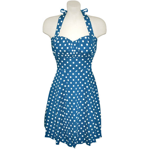 Sea Blue and White Polka Dot Halter Dress