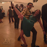 Brooklyn Swings Photo with Aris Allen Black Canvas Captoe Swing Dance Shoes