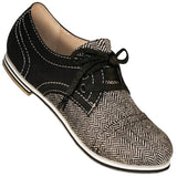 Aris Allen Women's Black Canvas & Herringbone Captoe Dance Shoes