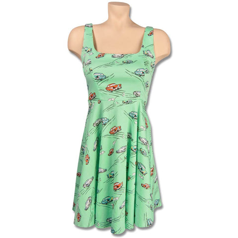 Mint Green Retro Dress with Vintage Cars *Limited Sizes*