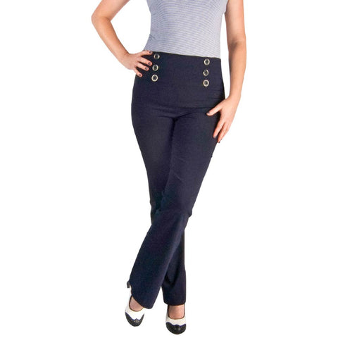 Women's Navy Blue 6 Button Sailor Pants