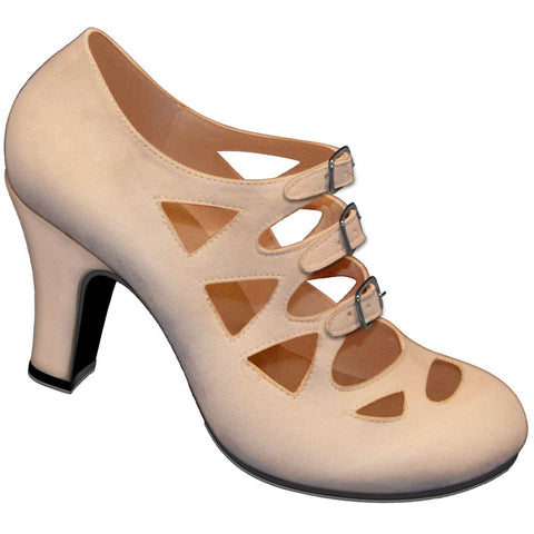 Aris Allen 1940s Women's Nude Criss-Cross 3-Buckle Pump