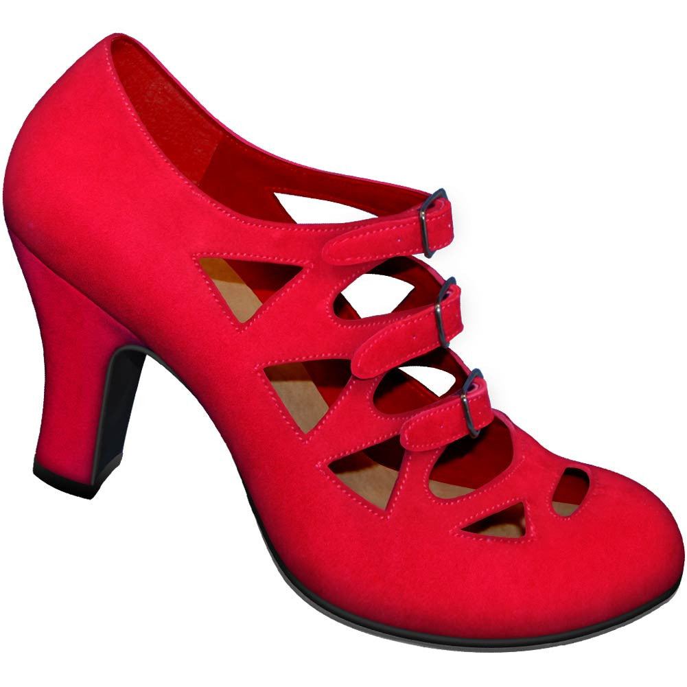 Aris Allen 1940s Women's Red Criss-Cross 3-Buckle Pump, dancestore.com - 1