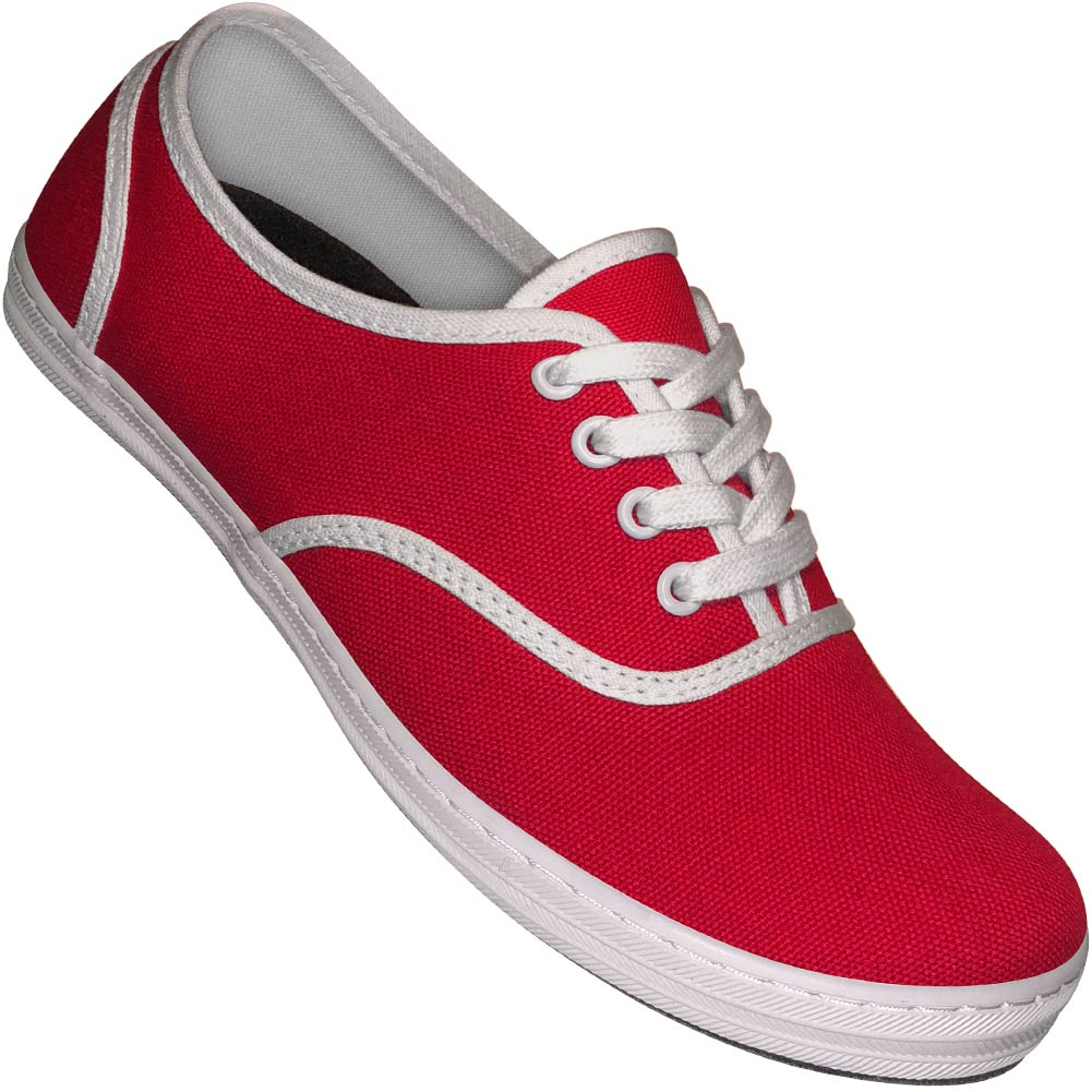 Aris Allen Women's Red & White Two-Tone Canvas Dance Sneaker