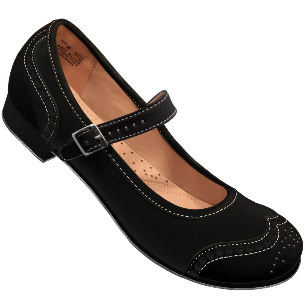 Aris Allen Black Snub Toe Mary Jane Wingtips - *CLOSEOUT*