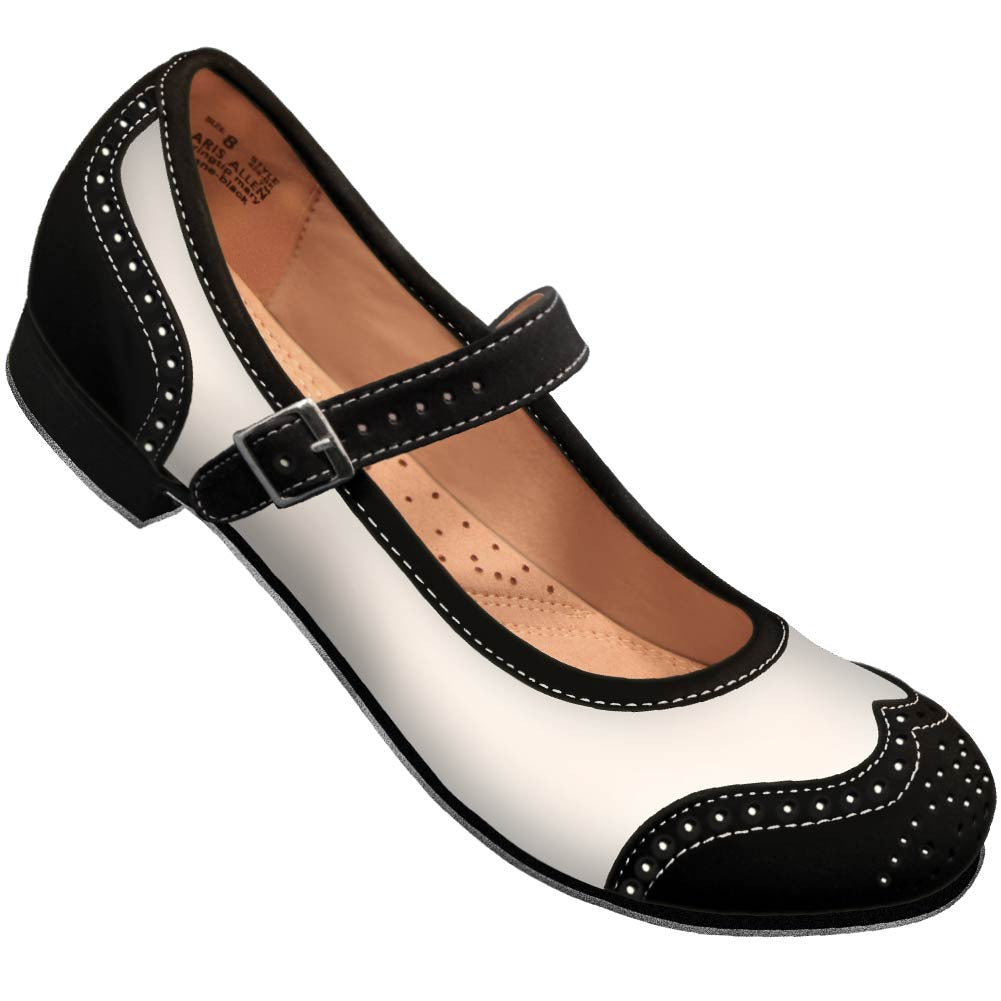 Aris Allen Black and Ivory Snub Toe Mary Jane Wingtips