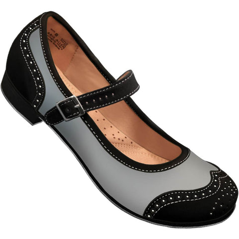 Aris Allen Black and Grey Snub Toe Mary Jane Wingtips *CLOSEOUT*
