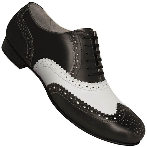 Aris Allen Men's 1930s Black and White Spectator Wingtip Dance Shoe