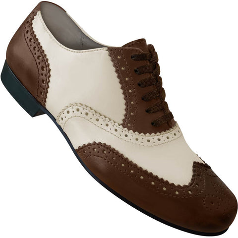 Aris Allen Men's 1930s Coffee and Cream Spectator Wingtip Dance Shoe