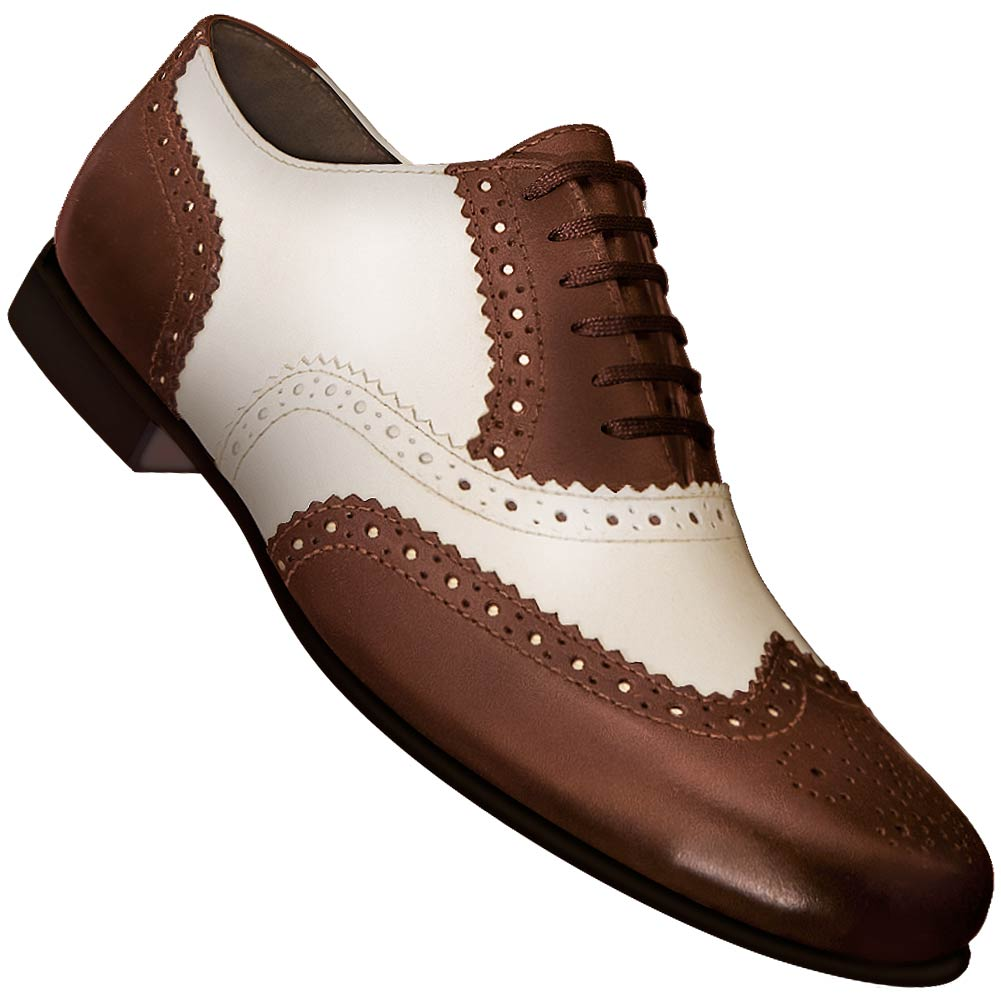 Aris Allen Men's 1930s Cognac and Ivory Spectator Wingtip Dance Shoe *CLOSEOUT*
