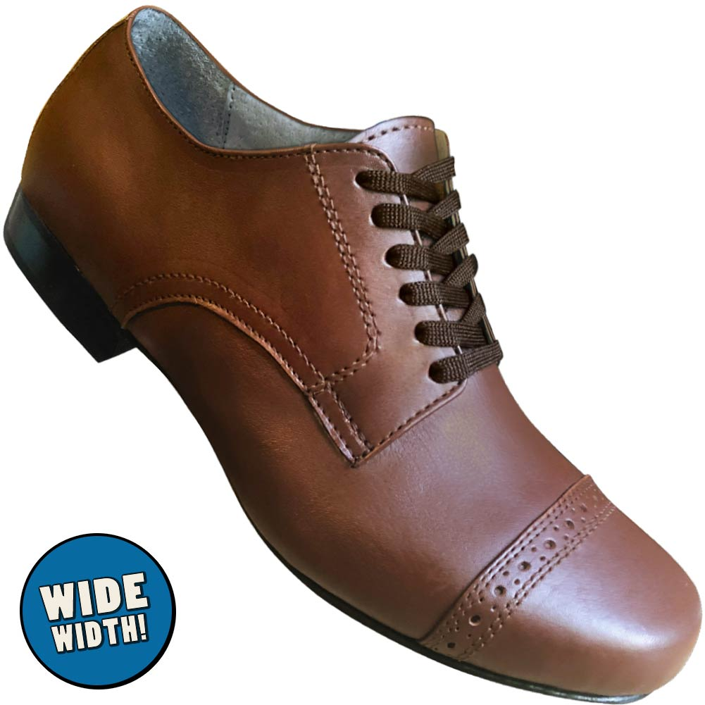 Aris Allen Men's Wide Width 1930s Brown Captoe Dance Shoes