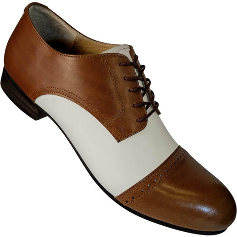 Aris Allen Men's 1932 Brown and Ivory Captoe Swing Dance Shoes