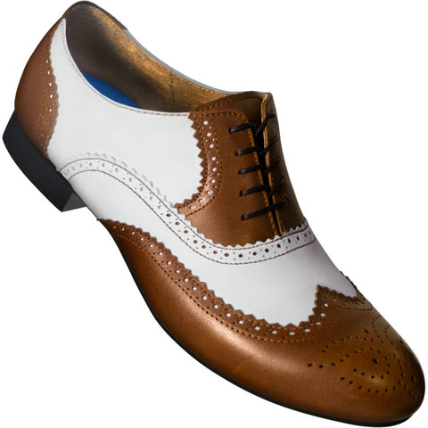 Aris Allen Men's 1946 Brown and Ivory Spectator Wingtip Dance Shoes