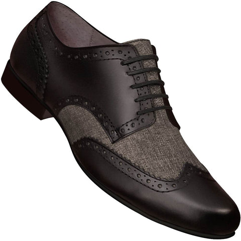 Aris Allen Men's Swing Era Black Leather & Grey Linen Wingtip Dance Shoe